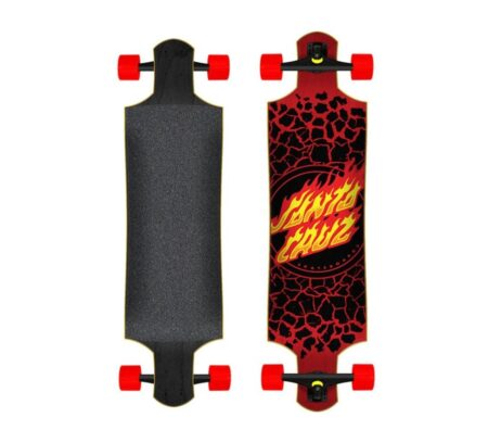 "Longboard Skate SANTA CRUZ Flame Dot Drop Down 40"""